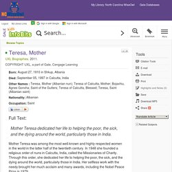 Kids InfoBits - Document - Teresa, Mother
