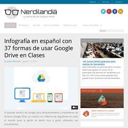 Infografía en español con 37 formas de usar Google Drive en Clases