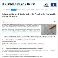 IES Isabel Perillán y Quirós - Información de interés sobre la Prueba de Evaluación de Bachillerato