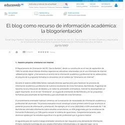 El blog como recurso de información académica: la blogorientación
