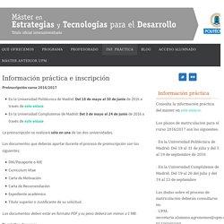 Información práctica e inscripción - Máster en Estrategias y Tecnologías para el Desarrollo