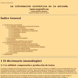 La información sintáctica en la entrada lexicográfica