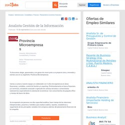Analista Gestión de la Información en Provincia Microempresas- 15-09-2014