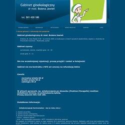 Ginekolog Kraków - Informajce dla pacjentek - Gabinet Ginekologiczny dr med. Bożena Jawień