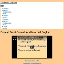 Formal, Semi-Formal, and Informal English – Espresso English