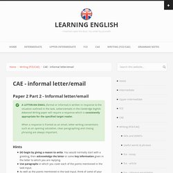 CAE - informal letter/email