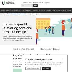 Informasjon til elever og foreldre om skolemiljø