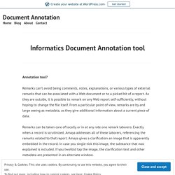 Informatics Document Annotation tool – Document Annotation