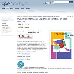 Python for Informatics: Exploring Information, an open textbook
