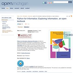 Python for Informatics: Exploring Information, an open textbook | Open.Michigan