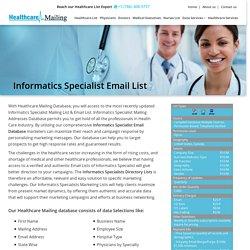 Medical Informatics Specialist Mailing Database
