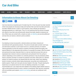 Information to Know About Car Detailing