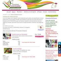 Dates et information des cours de l'Académie Culinaire Annie Caron