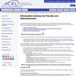 Information Literacy for Faculty and Administrators