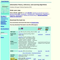 David MacKay: Information Theory, Inference, and Learning Algorithms: The Book