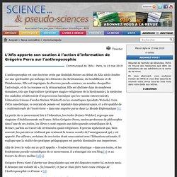 L'Afis apporte son soutien à l'action d'information de Grégoire Perra sur l'anthroposophie