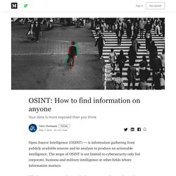 OSINT: How to find information on anyone – Petro Cherkasets