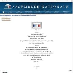 N°2944 - Rapport d'information de Mme Gisèle Biémouret déposé en application de l'article 145 du règlement par la commission des affaires sociales en conclusion des travaux d'une mission d'évaluation et de contrôle des lois de financement de la sécurité