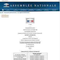 N°4487 - Rapport d'information de MM. Yves Censi et Gérard Sebaoun déposé en application de l'article 145 du règlement, par la commission des affaires sociales, en conclusion des travaux d'une mission d'information relative au syndrome d'épuisement profe