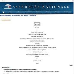 4350 - Rapport d'information de MM. Christian Ménard et Jean-Claude Viollet déposé en application de l'article 145 du règlement, par la commission de la défense nationale et des forces armées sur les sociétés militaires privées
