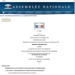 3028 - Rapport d'information de MM. Xavier Breton et Yves Durand déposé en application de l'article 145 du règlement, par la commission des affaires culturelles et de l'éducation, en conclusion des travaux d'une mission d'information sur les rythmes de