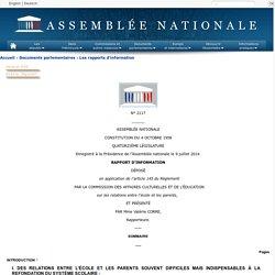 N°2117 - Rapport d'information de Mme Valérie Corre déposé en application de l'article 145 du règlement, par la commission des affaires culturelles et de l'éducation sur les relations entre l'école et les parents