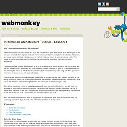 Information Archetecture Tutorial - Lesson 1