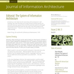 Editorial : The System of Information Architecture