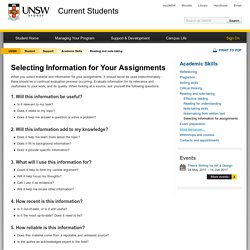 Selecting Information for Your Assignments