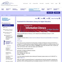 Framework for Information Literacy for Higher Education