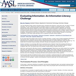 Evaluating Information: An Information Literacy Challenge