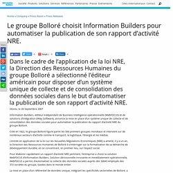 Press: Le groupe Bolloré choisit Information Builders pour automatiser...