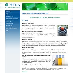 PETRA: Information on the Use, Benefits & Safety of PET Plastic.