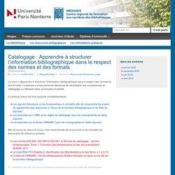 Catalogage : Apprendre à structurer l'information bibliographique dans le respect des normes et des formats