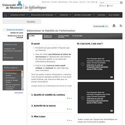 L'évaluation d'un site Web - Bibliothèques des sciences de la santé - Université de Montréal