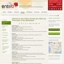 Sélection de sites d'offres d'emploi des métiers de l'information et des bibliothèques