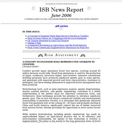 ISB NEWS REPORT JUNE 2006 Au sommaire: A Nanotech Revolution in Agriculture and the Food Industry