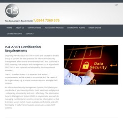 ISO 27001 Information security management certification