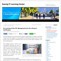 Koenig Solutions, provides information on ITIL Foundation and ITIL V3 Courses, Exams, Certifications and materials.