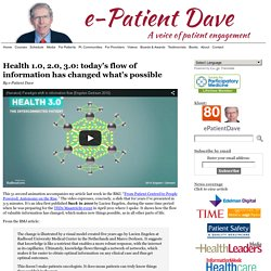 Health 1.0, 2.0, 3.0: today's flow of information has changed what's possible