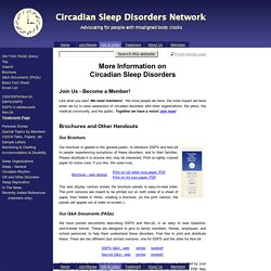 Information & Links - Circadian Sleep Disorders Network
