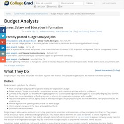 Budget Analysts: Career, Salary and Education Information, CollegeGrad.com