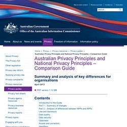 Australian Privacy Principles and National Privacy Principles – Comparison Guide