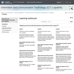 Information and Communication Technology (ICT) Capability - Learning continuum - The Australian Curriculum v8.1