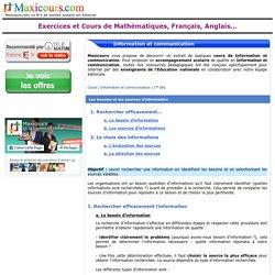 Les besoins et les sources d'information, Soutien scolaire, Cours Information et communication, Maxicours