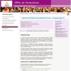 Master Information-Communication : Journalisme (P) - Offre de formation