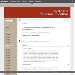 L'histoire des sciences de l'information et de la communication