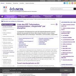 """Éducation aux médias et à l'information - Liste des EPI """"Information, communication, citoyenneté"""" par discipline"""