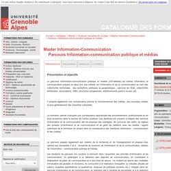 Parcours Information-communication publique et médias - Catalogue des formations