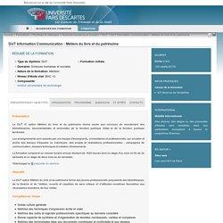 DUT Information Communication : Métiers du livre et du patrimoine - Charte Paris5